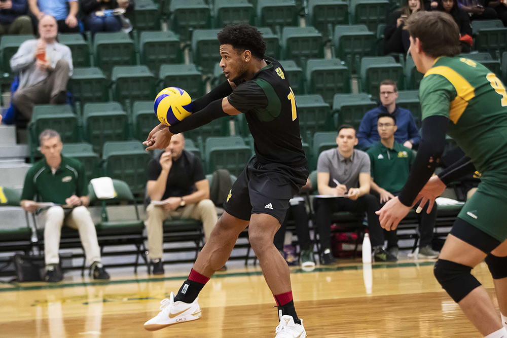 Taryq Sani was a monster this weekend with 44 kills in 9 sets. Photo: UAlberta Athletics