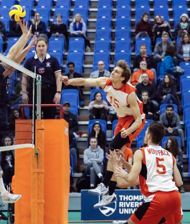 The Wolfpack's Tim Dobbert leads the Canada West (and Canada) with 283 kills after a monster 50-point weekend in Winnipeg . Photo: TRU Wolfpack Athletics