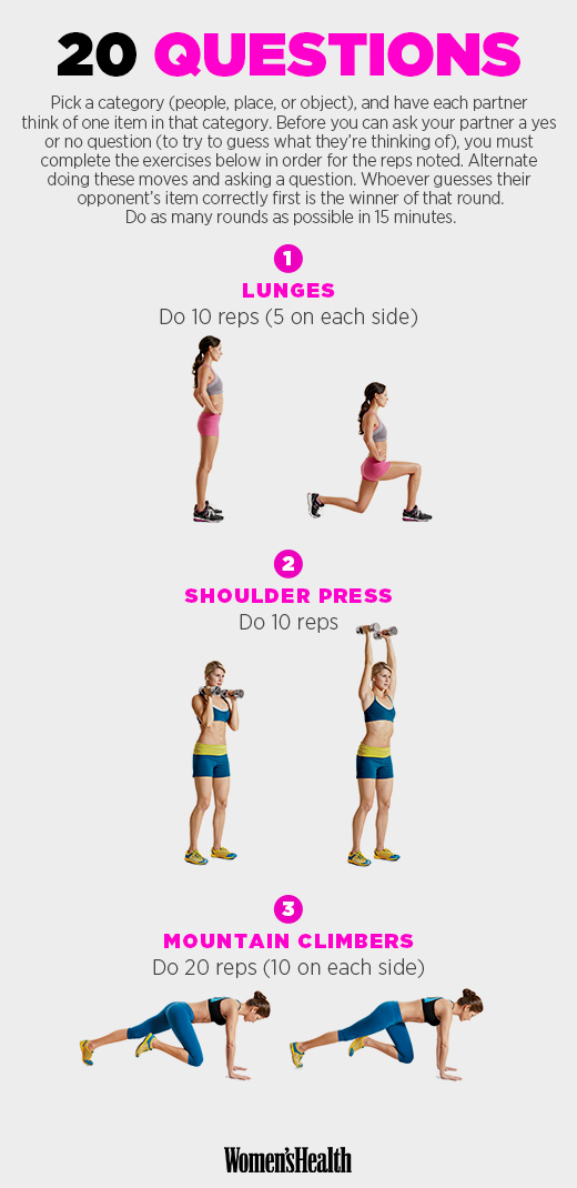 If you're short on dumbbells for the shoulder press, use a bodyweight exercise like squat thrusts.