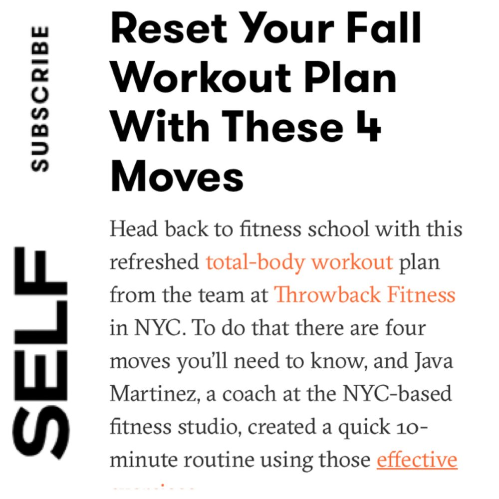 Self Magazine: Reset your fall workout plan with these 4 moves