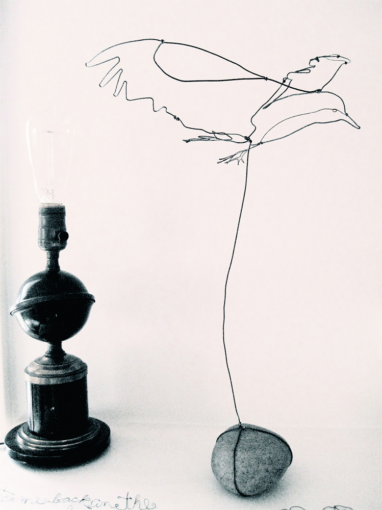 Wire bird with rock