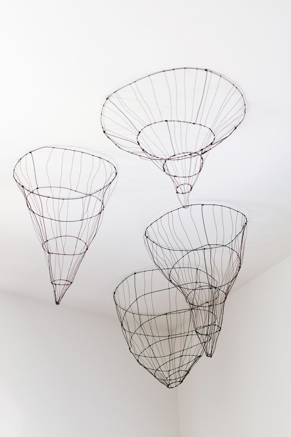 Wire ceiling baskets