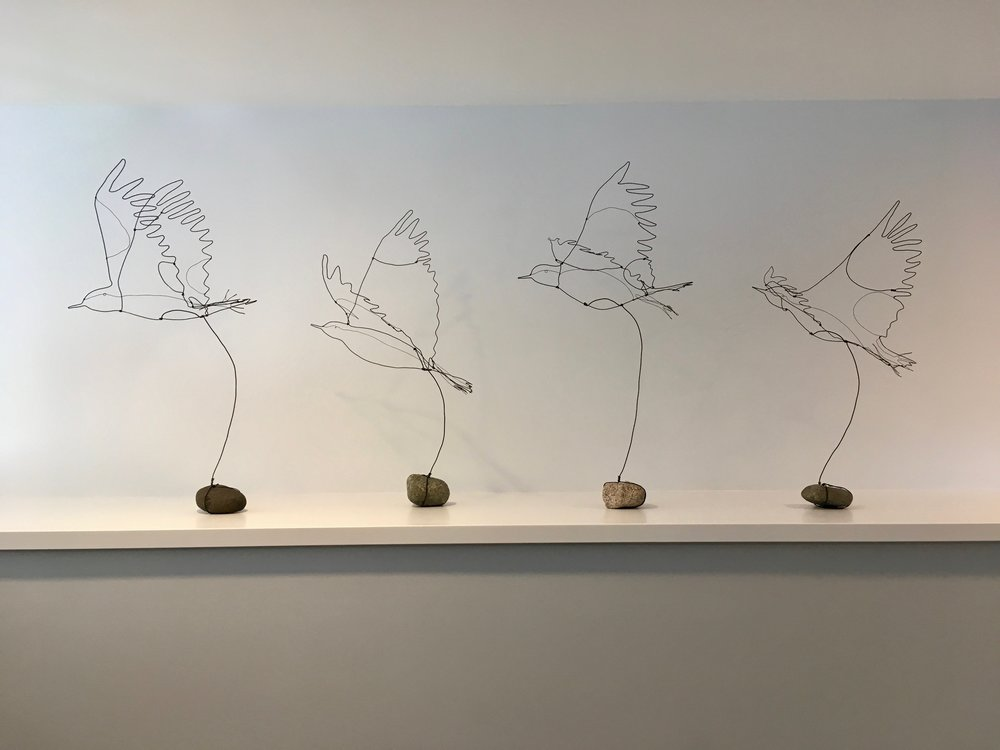 Wire Birds with rock