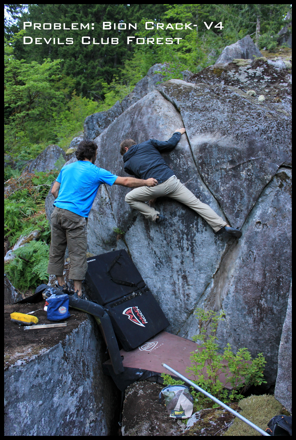 Will Despard on the Bion Crack- V4 with Pablo Zuleta on spot. (FA Pablo Zuleta)