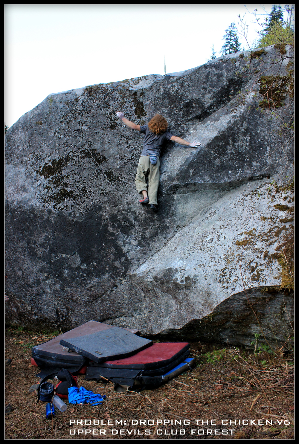 Johnny on Dropping the Chicken - V6 (FA Mike May) a three star problem in the Morpheus Bouldering Area.