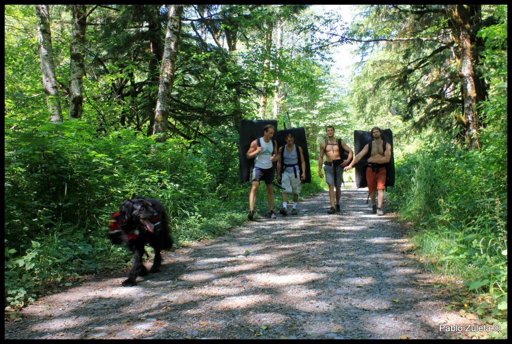The Olympia Bouldering Crew has been developing a new bouldering area near GoldMyer Hot Springs.  A picture of us going to check it out.  Pictured: Baker (dog), Ben Shrope, Jared Usui, Isac, Miles, (Pablo taking the picture)