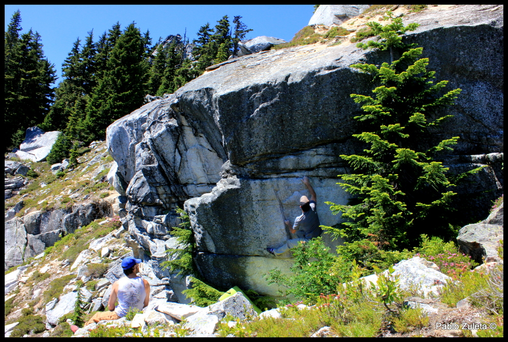 Ryan and Pablo climbing some alpine rock at Stevens Pass.