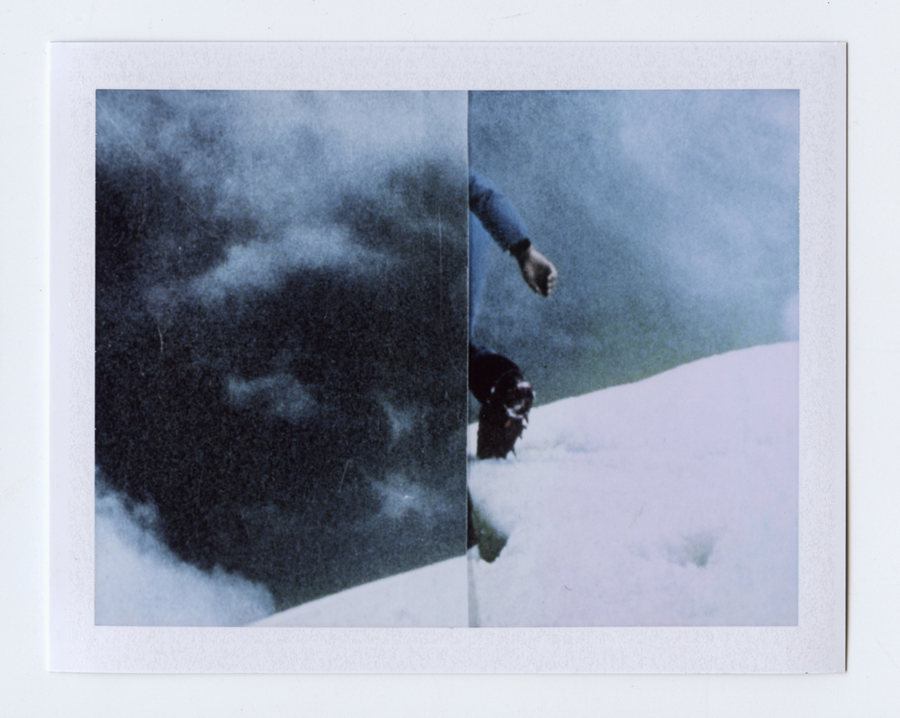 at the edge of the world, do we turn around?  Polaroid of found National Geographic, 2015   Statement + Info