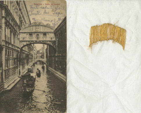 Cosi vi ricorderete , Yael Nov, Found postcard, chiffon, embroidery floss, 2011