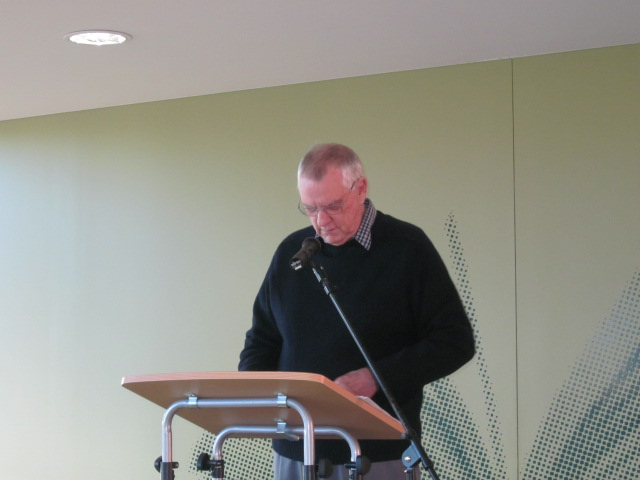 Reece speaking at the Tea Tree Gully Book Launch.