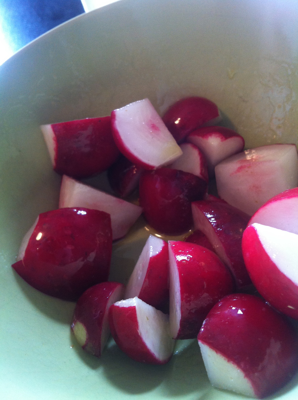 Radishes. Olive oil. Salt. Yum.