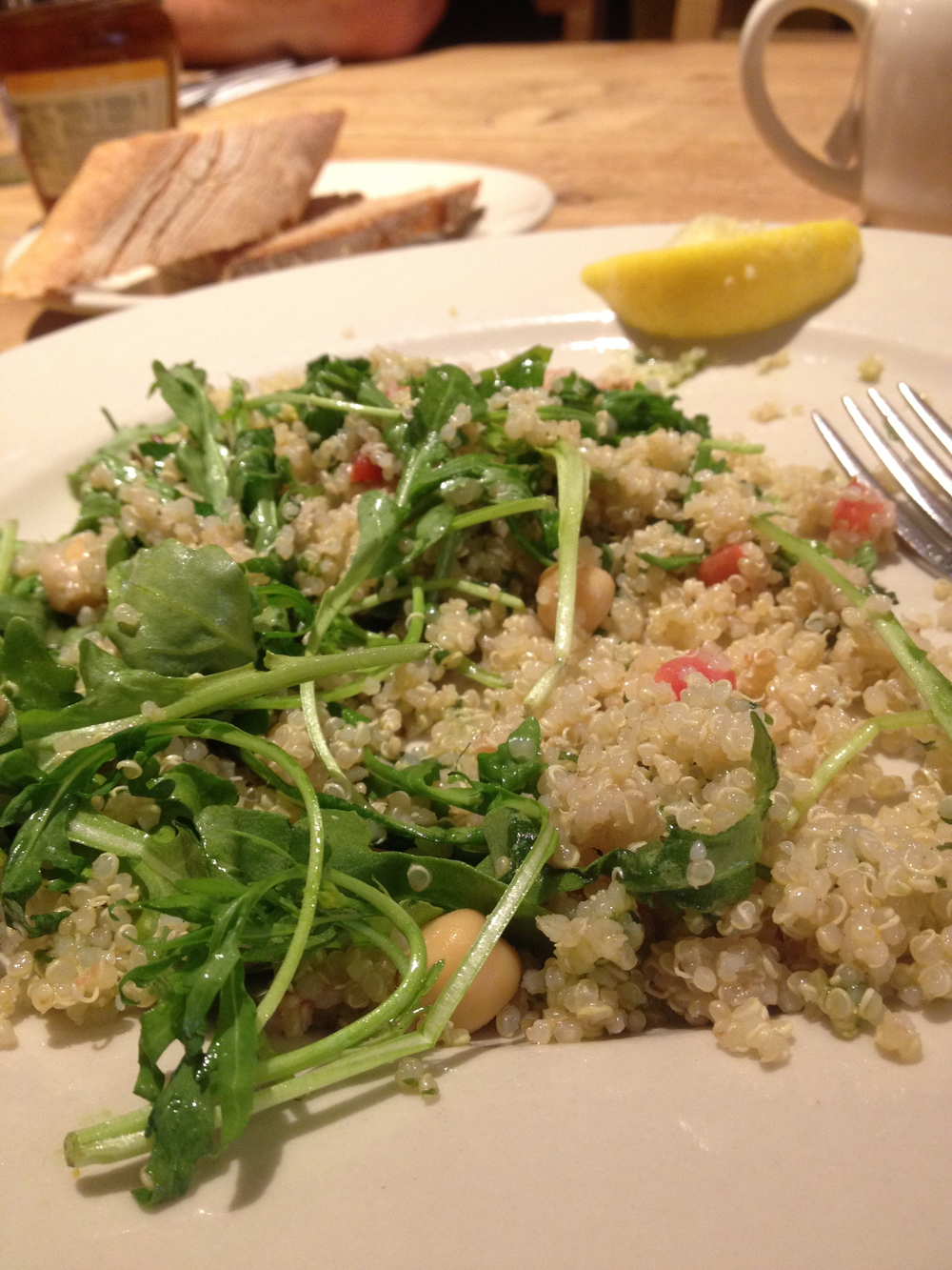 Meal Idea: Quinoa and arugula salad with chick peas and diced tomatoes. Dress this in some fresh squeezed lemon juice and a bit of olive oil. Add some s&p if you like.
