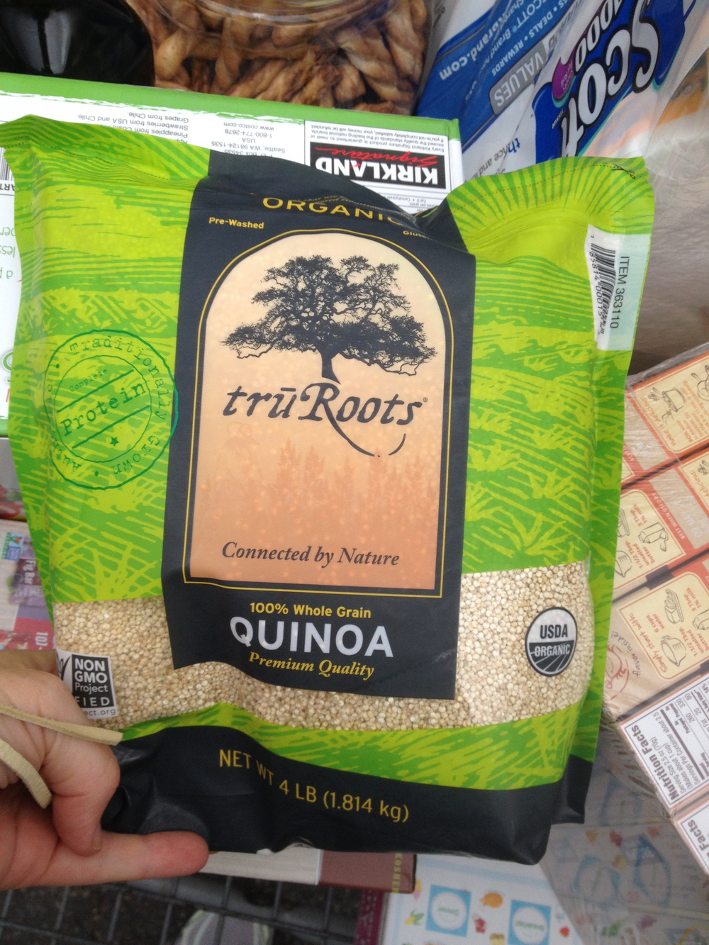 Money saving tip: Check out costco to get items like this in bulk. Quinoa can be VERY expensive, but it's a great healthy grain you can add to salads, soups or as a side dish on its own. If I'm going to make it as a side dish I usually cook it in veggie broth to give it some flavor.