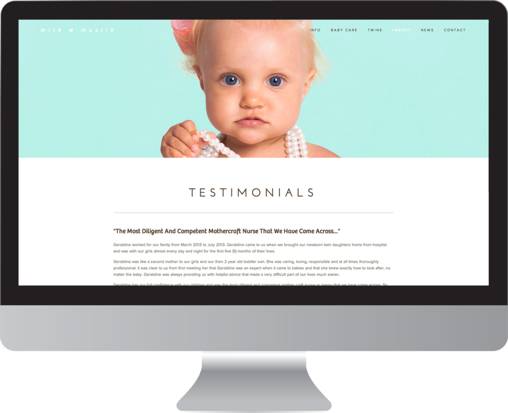 Brochure Style  website design  by  White Tiger Creative  Byron Bay for Mothercraft / Baby Care Services business featuring parallax scrolling. Byron Bay Australia