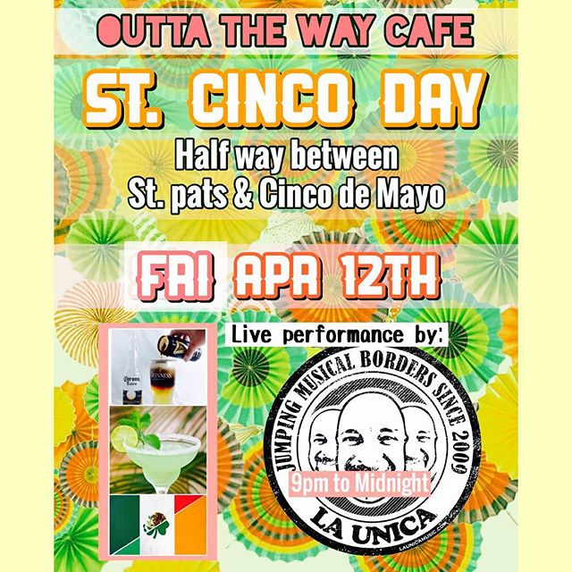 """St. Cinco Day"" is the day that falls half way between St. Patrick's Day and Cinco de Mayo. ""La Unica"" is the band that blends both Irish and Latin music. Come to @outtathewaycafe Fri April 12th - 9pm to midnight .. . . . . . #borderlessjams #stpatricksday #cincodemayo #stcincoday #saintcincoday #tinwhistle #guinness #corona #fusion #irishsalsa #blackandtan #margarita #outtathewaycafe #derwoodmd @guinnessbreweryus @coronausa"