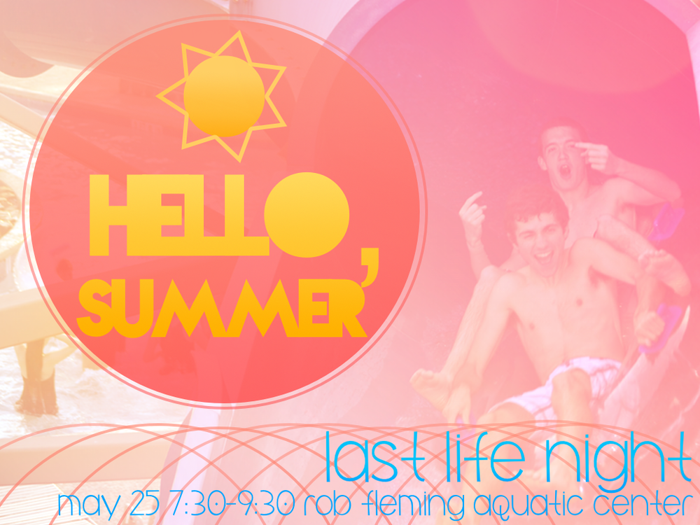 Join us for the end of the year/beginning of summer party from 7:30-9:30pm at the Rob Fleming Aquatic Center