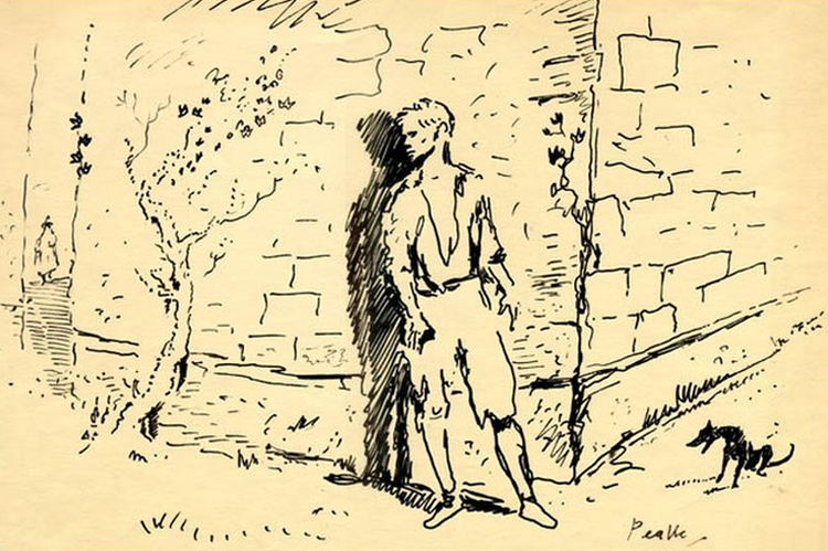 Stojący pod ścianą Tytus Groan - jedna z licznych ilustracji, jakie Mervyn Peake stworzył do świata Gormenghast.