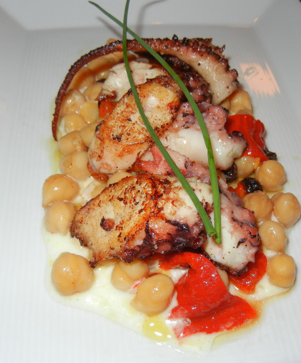 Octopus with Chick Peas and Roasted Pepper ($14)