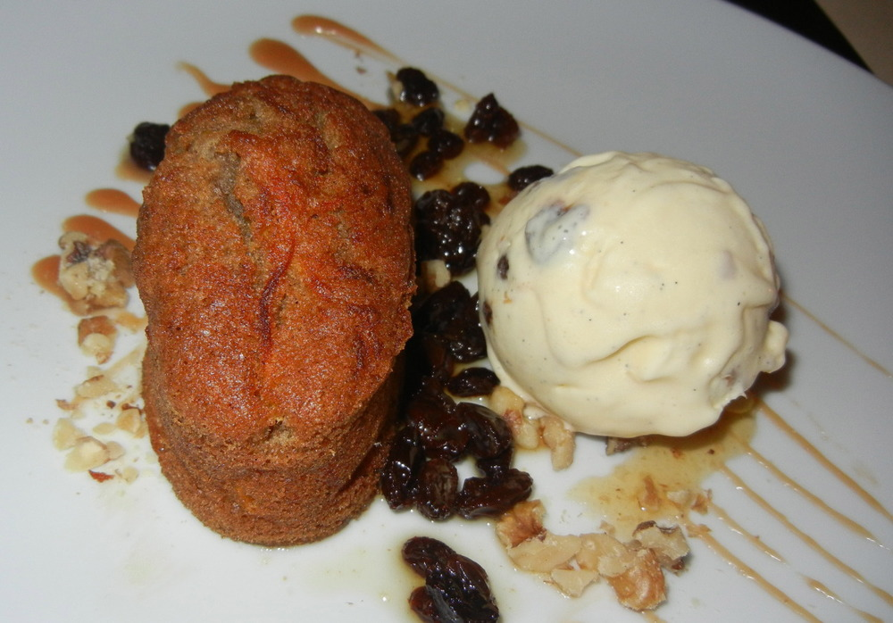 Butternut Squash-Apple Cake with Walnut-Raisin Ice Cream ($8)