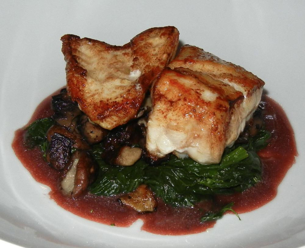 Monkfish, Spinach, Wild Mushroom, Red Wine ($25)