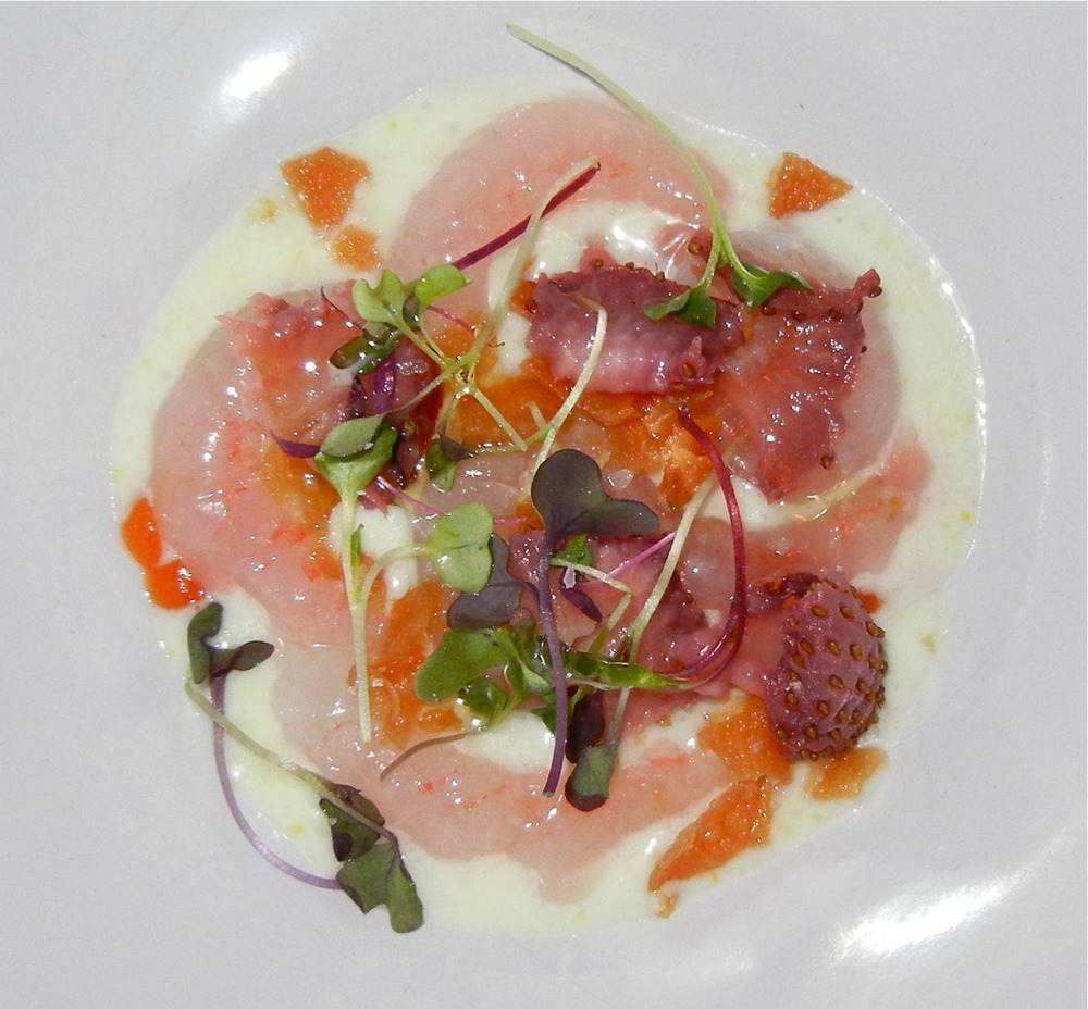 Raw Maine Shrimp with Lemon Puree, Chili, Strawberry, and Microgreens (tasting m