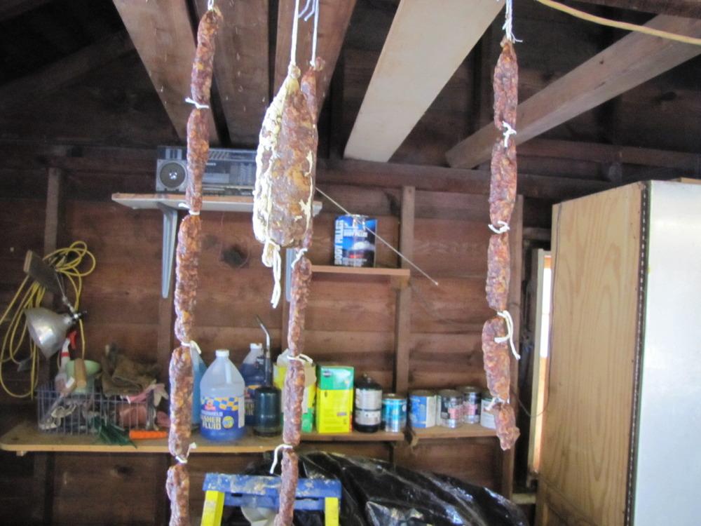 Hanging salami