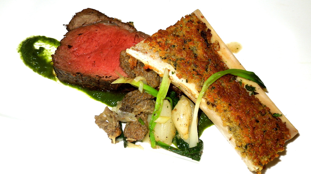 Bison strip loin with foie gras crusted bone marrow