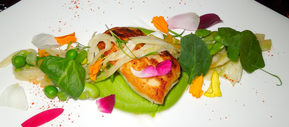 Day boat halibut with sweet pea sabayon, fava beans, cherry tomato, fennel, bay spinach, and lobster roe.