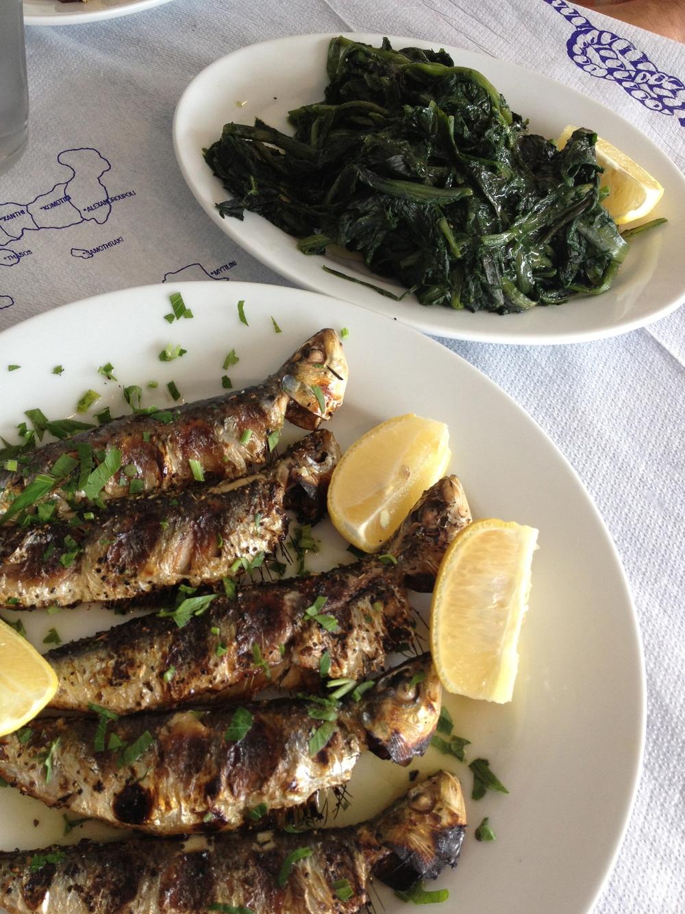 Sardines with dandelion.