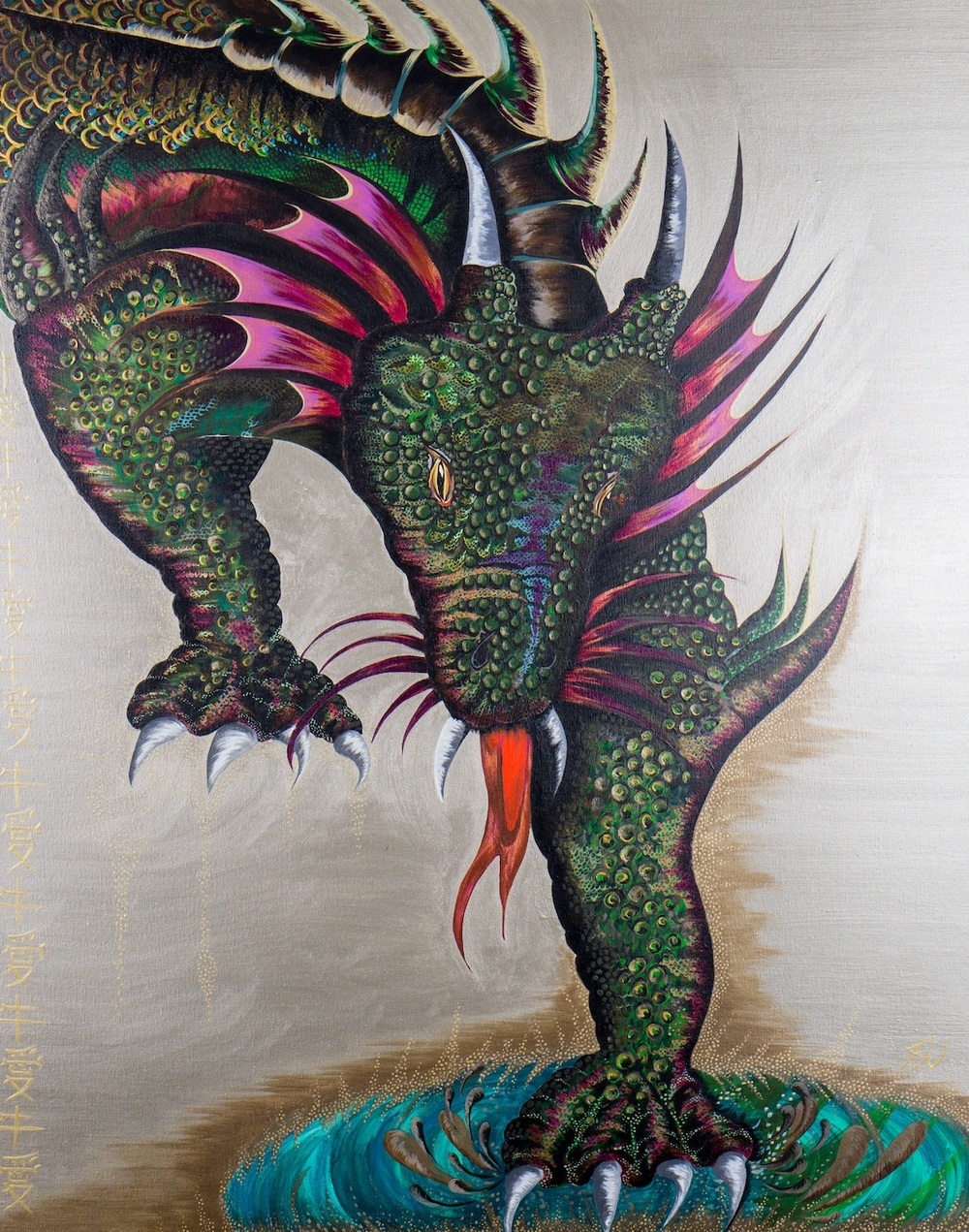 Dragon on silver