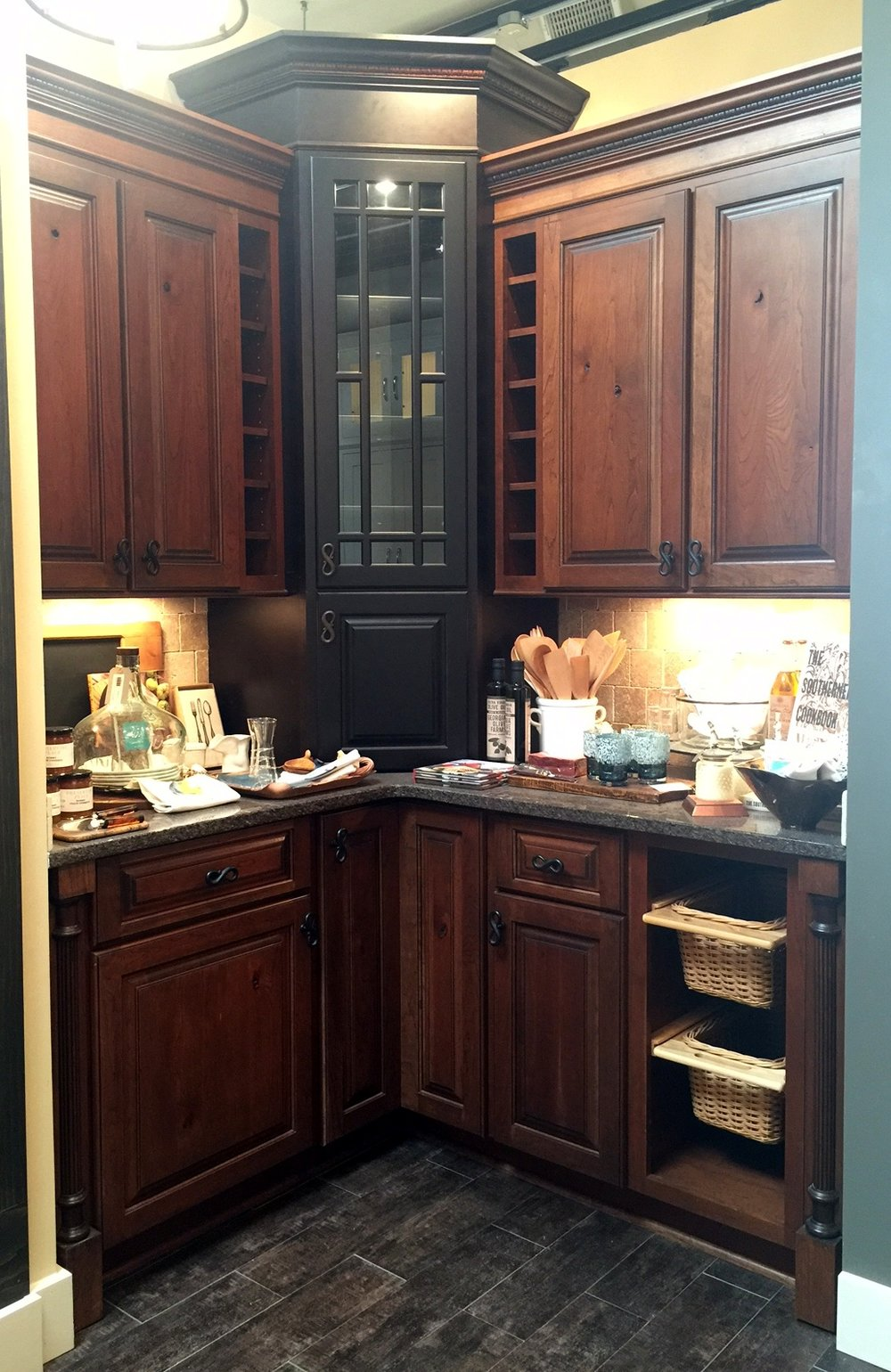 Rustic Cherry Cabinets with Black Maple Tower