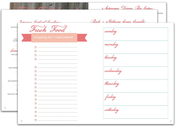 Simple Fresh Food. Weekly Meal Planner + Shopping List. Click to Download.