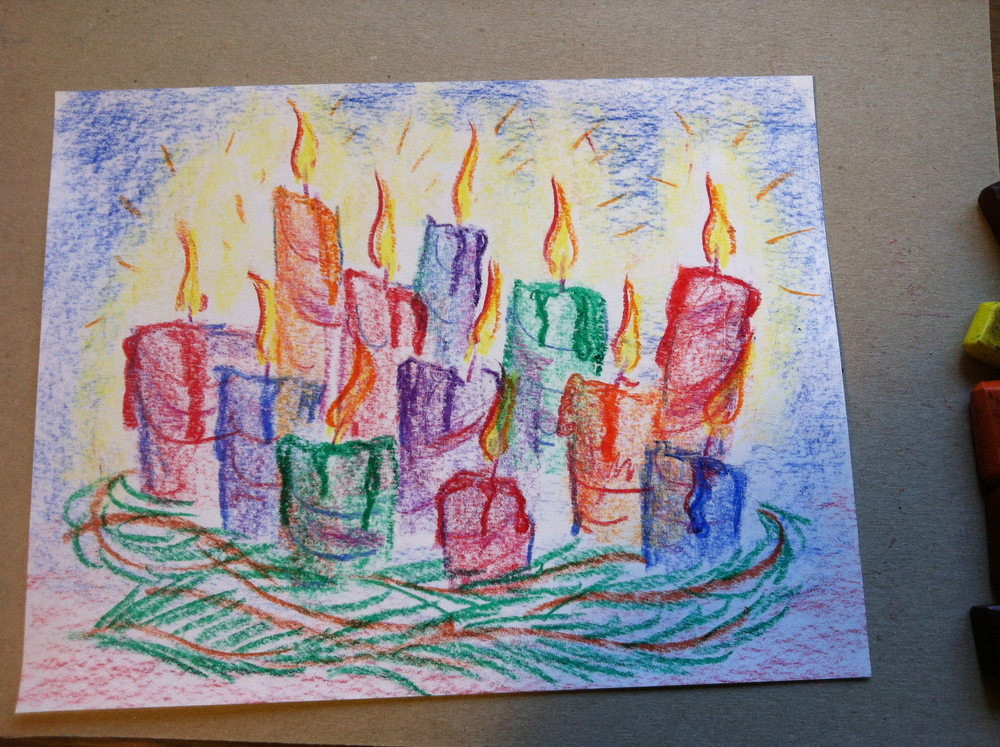 Holiday Candles chalk & block crayon tutorial.    (click image to purchase)   Learn how to create a pleasant background, pillar candles, and shading with chalks, pastels, and even block crayons. This video will have you using finger-shading, blending, and layering techniques with different shapes and designs of lines to create a life-like scene of flames complete with dripping melting wax! Learn about the importance of children learning to challenge and discuss their works of art. In just over 12 minutes Waldorf teacher Brian Wolfe will teach children from G1- adult how to create this celebration of candles. This is sure be a favorite for any holiday including winter solstice, advent, Christmas, Diwali, Ramadan, Candlemas, birthdays, etc…    Price: $15.00