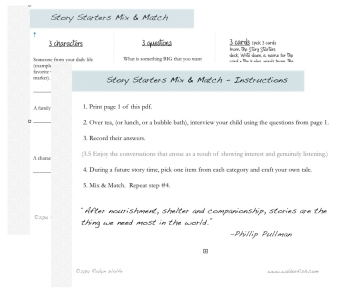 Click to download your bonus PDF! - Use this Mix & Match play sheet to interview your children...use the results to craft your own stories that incorporate bits and pieces of their heart and soul.