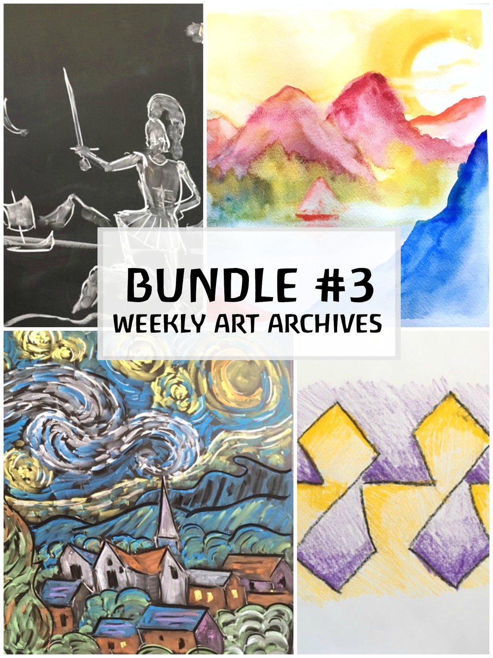 $28   Lesson One - Watercolor landscape.  Lesson Two- Figure drawing.  Lesson Three- Van Gogh inspired chalk-drawing.  Lesson Four- Form-drawing exercises.