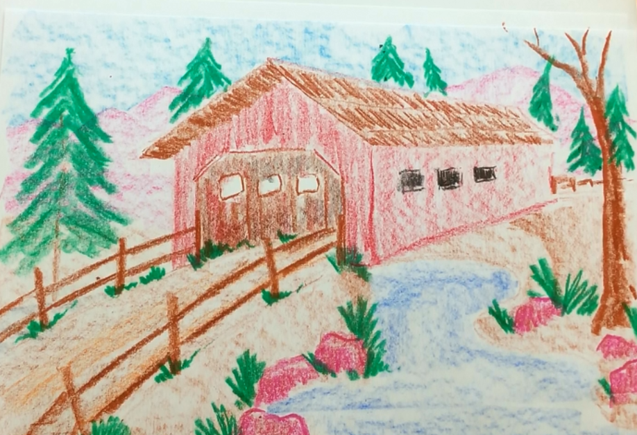 December - Week Three - Crayons & paper (covered bridge landscape)