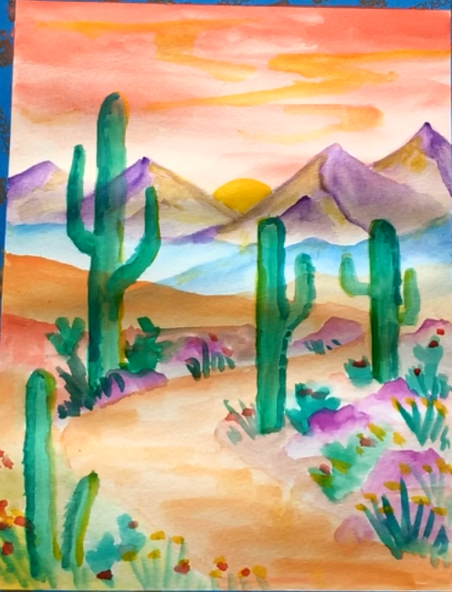 January - Week One - Watercolor desert (dry paints & paper)