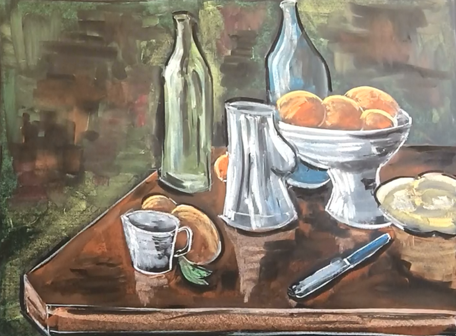 January - Week Two - Chalk/pastel on chalkboard or black paper (Matisse still-life)