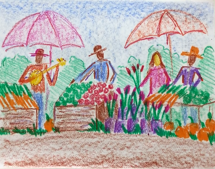 Jan - Week Three - Crayon farmers market w/figures