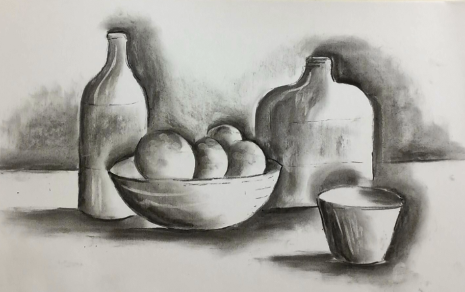 January- Week Four - Charcoal, drawing paper, kneadable eraser