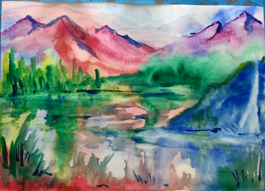 February - Week Two - Wet on wet (liquid watercolors, paper, brushes, etc)