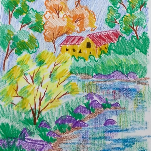 November - Week Three - Crayon House Landscape (stick crayons, drawing paper)