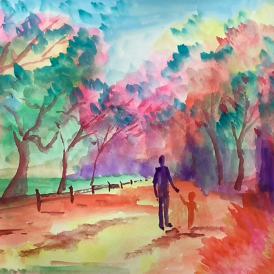 November - Week Two - Dry/hard watercolor paint + paper. (Figures in a landscape).