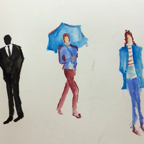 Oct - Week Four - dry/hard watercolor paints + paper, chalk or crayon (figure drawing).