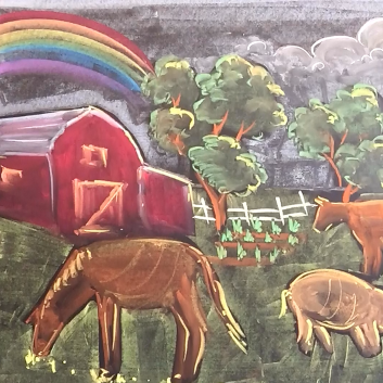 Oct - Week One - Chalk/pastel on chalkboard or black paper (trees + animals farm scene)