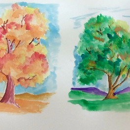 Sept - Week Three - dry/hard watercolor paints & paper - (trees)