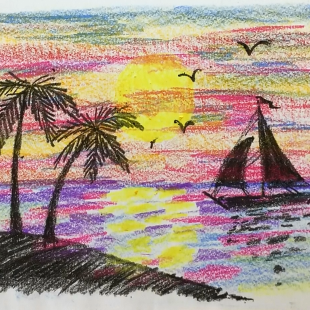 October - Week Two - Crayons and drawing paper (seascape scene)