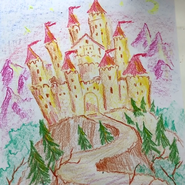February - Week Three - Block crayon castle, drawing paper.