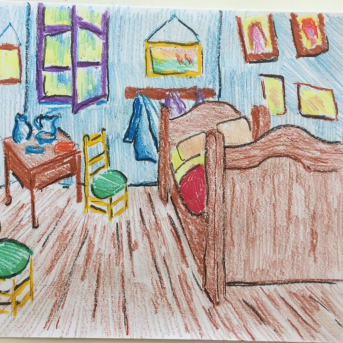 March - Week Four - Crayons & drawing paper (Van Gogh's Bedroom)