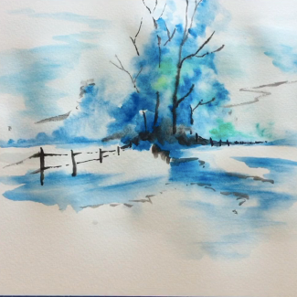 April - Week Two - Watercolor (winter landscape) with watercolor paper + dry paints.